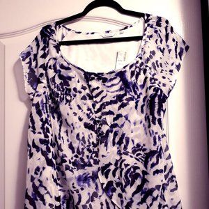 White and Purple Flutter Sleeve Tulip Hem Blouse